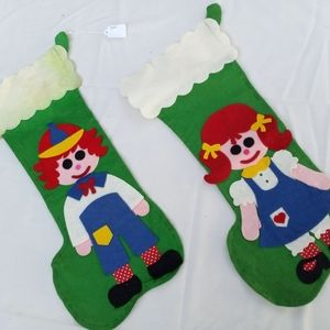 Vintage Felt Raggedy Ann and Andy Stockings